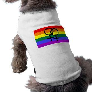 Bandera lesbiana coloreada arco iris del orgullo playera sin mangas para perro