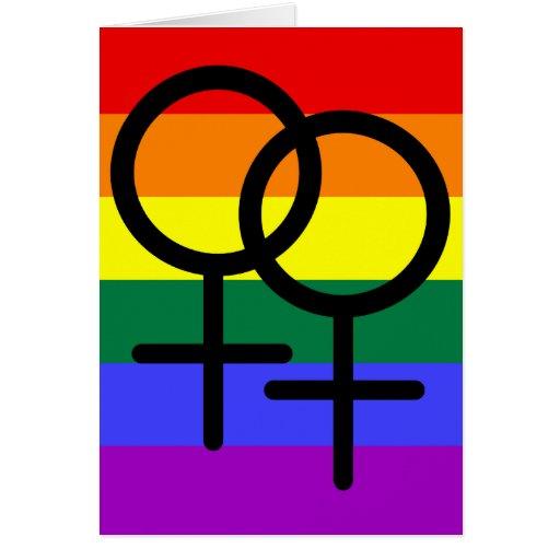Bandera lesbiana coloreada arco iris del orgullo felicitación