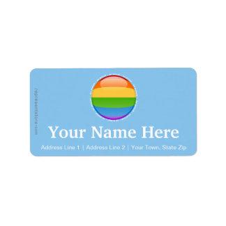 Bandera lesbiana gay de la burbuja del orgullo del etiqueta de dirección