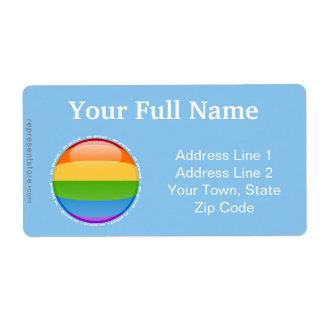 Bandera lesbiana gay de la burbuja del orgullo del etiquetas de envío