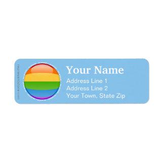 Bandera lesbiana gay de la burbuja del orgullo del etiquetas de remite
