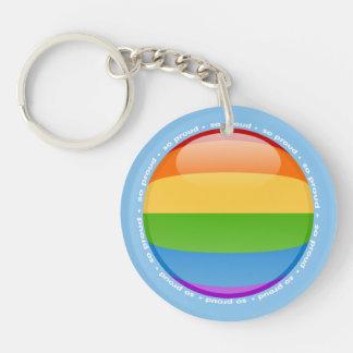 Bandera lesbiana gay de la burbuja del orgullo del llaveros