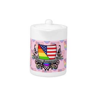 Bandera lesbiana gay del escudo del orgullo del ar
