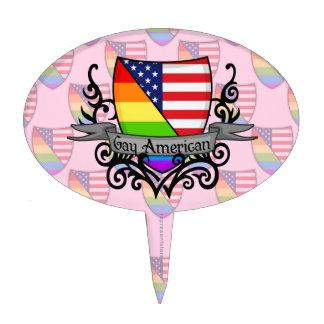Bandera lesbiana gay del escudo del orgullo del ar decoración para tarta