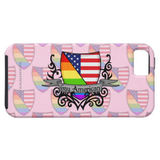 Bandera lesbiana gay del escudo del orgullo del ar iPhone 5 carcasa