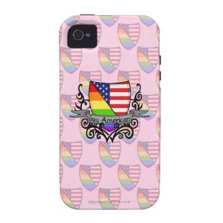 Bandera lesbiana gay del escudo del orgullo del ar iPhone 4 fundas