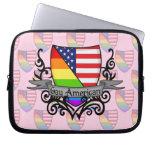 Bandera lesbiana gay del escudo del orgullo del ar funda ordendadores