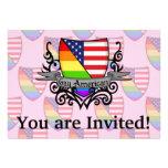 Bandera lesbiana gay del escudo del orgullo del ar invitacion personalizada