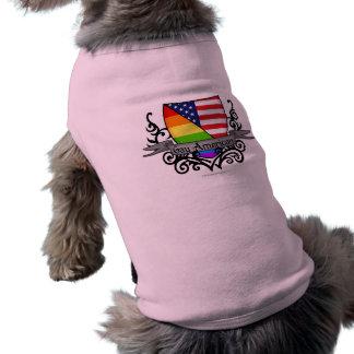Bandera lesbiana gay del escudo del orgullo del ar playera sin mangas para perro