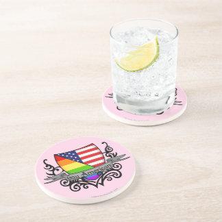 Bandera lesbiana gay del escudo del orgullo del ar posavaso para bebida