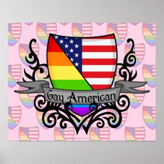 Bandera lesbiana gay del escudo del orgullo del ar póster