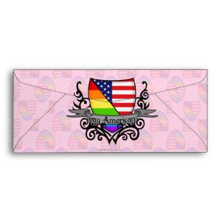 Bandera lesbiana gay del escudo del orgullo del ar sobre