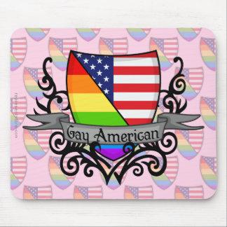 Bandera lesbiana gay del escudo del orgullo del ar alfombrillas de raton