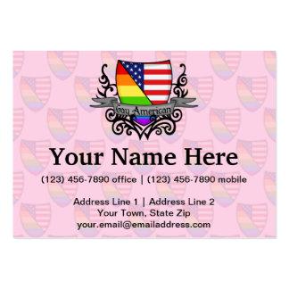 Bandera lesbiana gay del escudo del orgullo del ar tarjetas de negocios