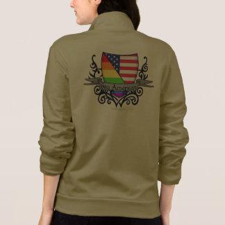 Bandera lesbiana gay del escudo del orgullo del chaquetas deportivas imprimidas