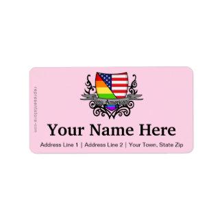 Bandera lesbiana gay del escudo del orgullo del etiqueta de dirección