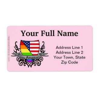 Bandera lesbiana gay del escudo del orgullo del etiqueta de envío