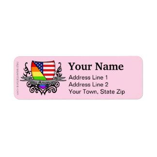 Bandera lesbiana gay del escudo del orgullo del etiqueta de remite