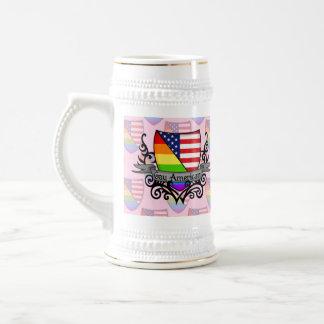 Bandera lesbiana gay del escudo del orgullo del jarra de cerveza