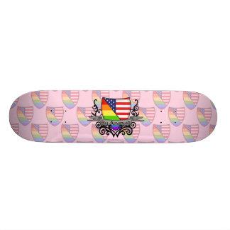 Bandera lesbiana gay del escudo del orgullo del patín
