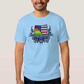 Bandera lesbiana gay del escudo del orgullo del remeras