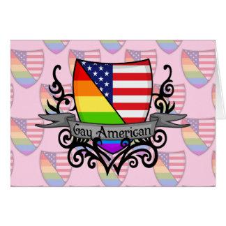 Bandera lesbiana gay del escudo del orgullo del tarjeta de felicitación