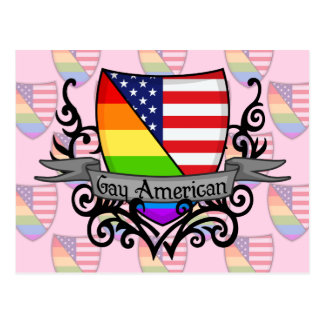 Bandera lesbiana gay del escudo del orgullo del tarjeta postal