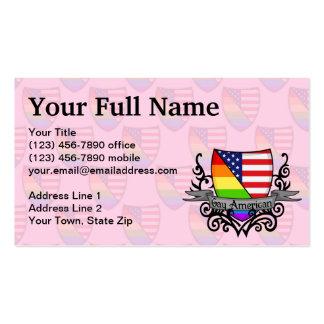 Bandera lesbiana gay del escudo del orgullo del tarjetas de visita