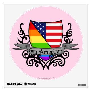 Bandera lesbiana gay del escudo del orgullo del vinilo