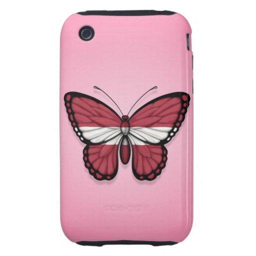Bandera letona de la mariposa en rosa tough iPhone 3 coberturas