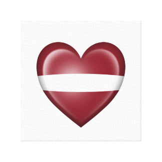 Bandera letona del corazón en blanco impresiones en lona estiradas