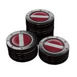 Bandera letona industrial con el gráfico de acero fichas de póquer