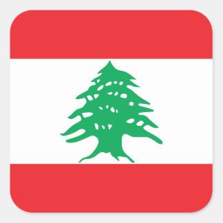 Bandera libanesa pegatina cuadrada