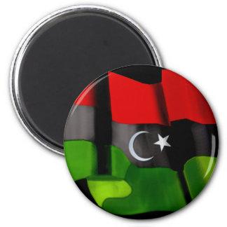 Bandera libia de la bandera de la monarquía de la  imán redondo 5 cm