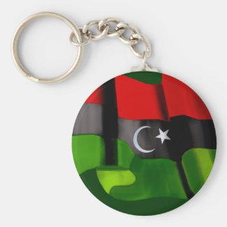 Bandera libia de la bandera de la monarquía de la  llavero redondo tipo pin
