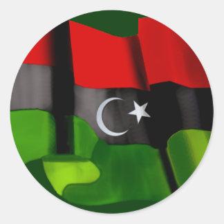 Bandera libia de la bandera de la monarquía de la pegatinas redondas