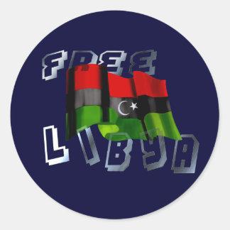 Bandera libia de la bandera de la monarquía de la etiqueta redonda