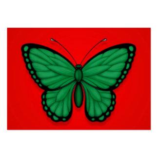 Bandera libia de la mariposa en rojo tarjetas de visita grandes
