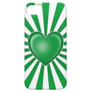 Bandera libia del corazón con los rayos de Sun iPhone 5 Case-Mate Fundas
