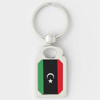 Bandera libia llavero plateado rectangular