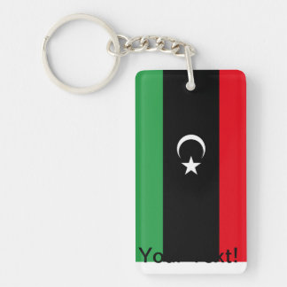 Bandera libia llavero rectangular acrílico a doble cara