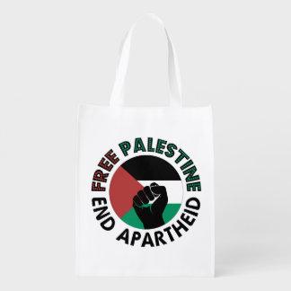 Bandera libre de Palestina del apartheid del final Bolsas Para La Compra