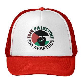 Bandera libre de Palestina del apartheid del final Gorro De Camionero