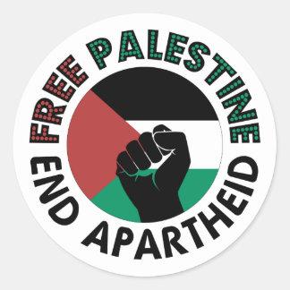 Bandera libre de Palestina del apartheid del final Pegatina Redonda