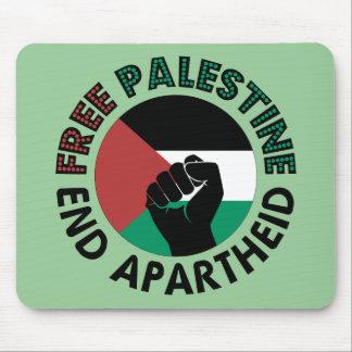 Bandera libre de Palestina del apartheid del final Tapetes De Ratones