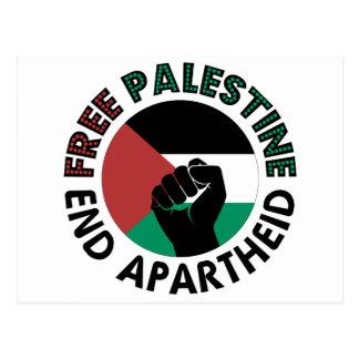 Bandera libre de Palestina del apartheid del final Tarjetas Postales