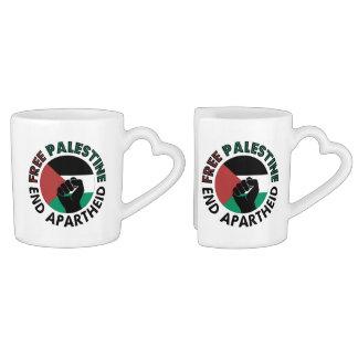 Bandera libre de Palestina del apartheid del final Tazas Amorosas