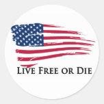 Bandera libre o americana viva - New Hampshire Etiqueta Redonda