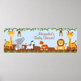 Bandera linda de la fiesta de bienvenida al bebé póster