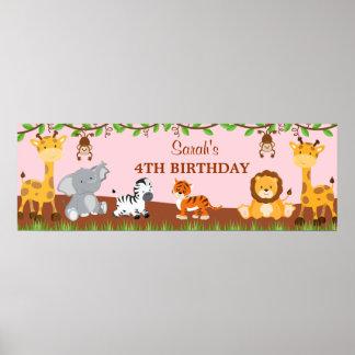 Bandera linda de la fiesta de cumpleaños de los an poster